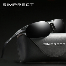 SIMPRECT PC Frame Polarized Sunglasses Men 2019 Retro Sunglasses