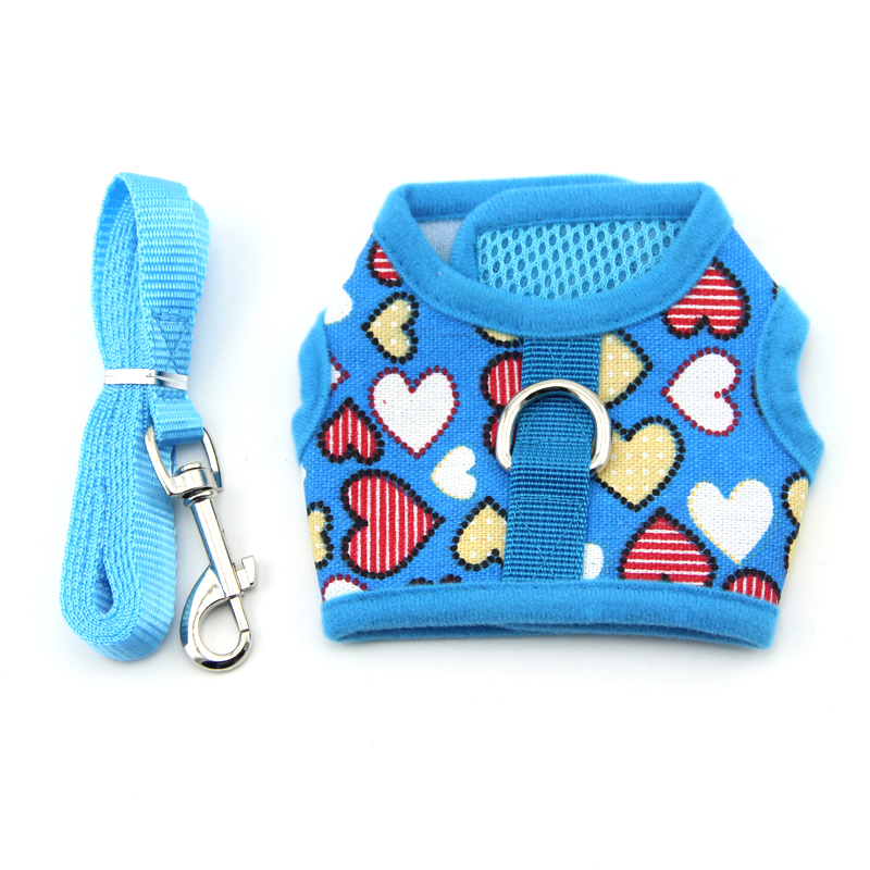 Heart Star Print Dog Harness Mesh Pet Puppy Dogs Collar Vest Harness Safety Control Walk Vest for Chihuahua Small Medium Large