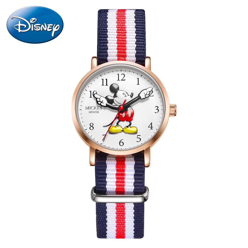 Mickey Mouse Children Blue Red Nylon Leather Band Japan Quartz Waterproof Watches Disney Wristwatch Kids Gift Carton Clock Hour