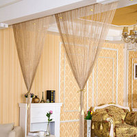 2.9x2.9m Shiny Tassel Flash Silver Line String Curtain Window Door Divider Sheer Curtains Valance Home Decoration 46