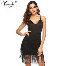 Sexy Black tassel Summer dress women bandage bodycon Backless beach Party dress elegant robe femme Night club dresses vestidos цена и фото