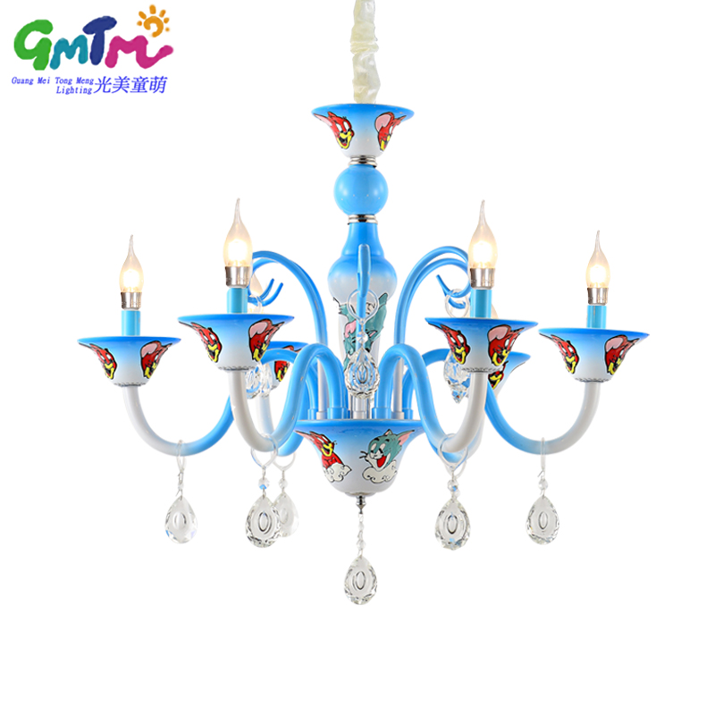 Home Decoration Modern Crystal Chandelier Lighting Kids Room Cartoon Cat And Mouse Warm Candle Ceiling Chandeliers