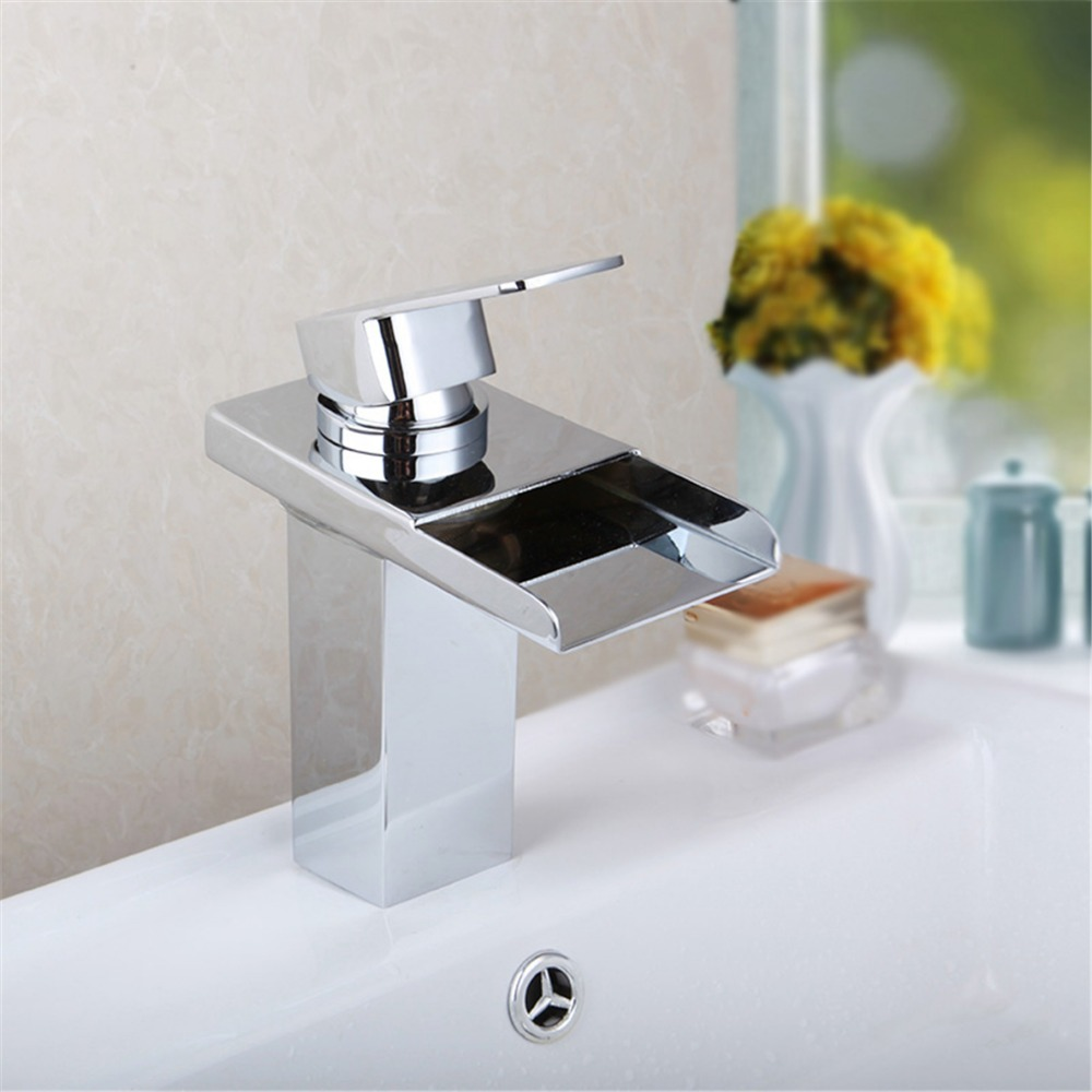 New Best LED Color Changing Waterfall Spout Bathroom Basin Faucet Vanity Mixer Tap Polished Chrome