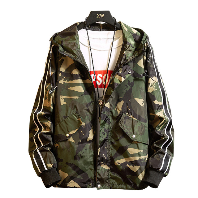 Large Size 8XL Brand Camouflage Men Jacket Casual Printed Hooded Loose Bomber Coat Trend Hip Hop Streetwear;YA059