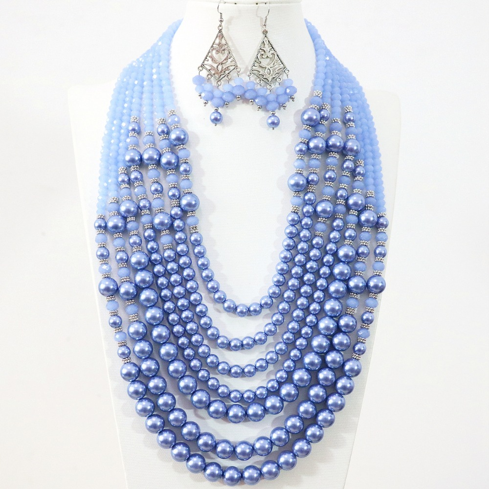 Fashion design 7 row necklace earrings light blue round shell simulated pearl abacus crystal beads elegant diy jewelry set B1312