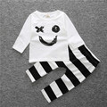 Winter Autumn Children Set Baby unisex Clothes Long Sleeve Smiling Face stripe Clothing Set Christmas Toddler Kids Outwear