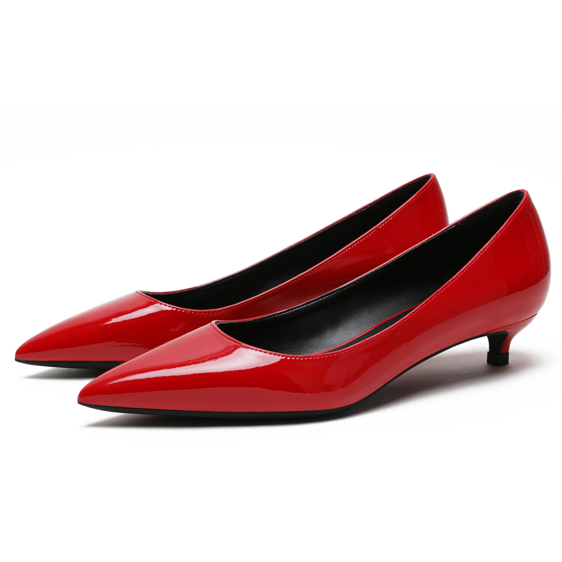 Hot Sale Brand Design New Women Pumps Red Lady Sheepskin Leather Thin Heel Autumn Pointed Toe Pumps Shoes Female F0082