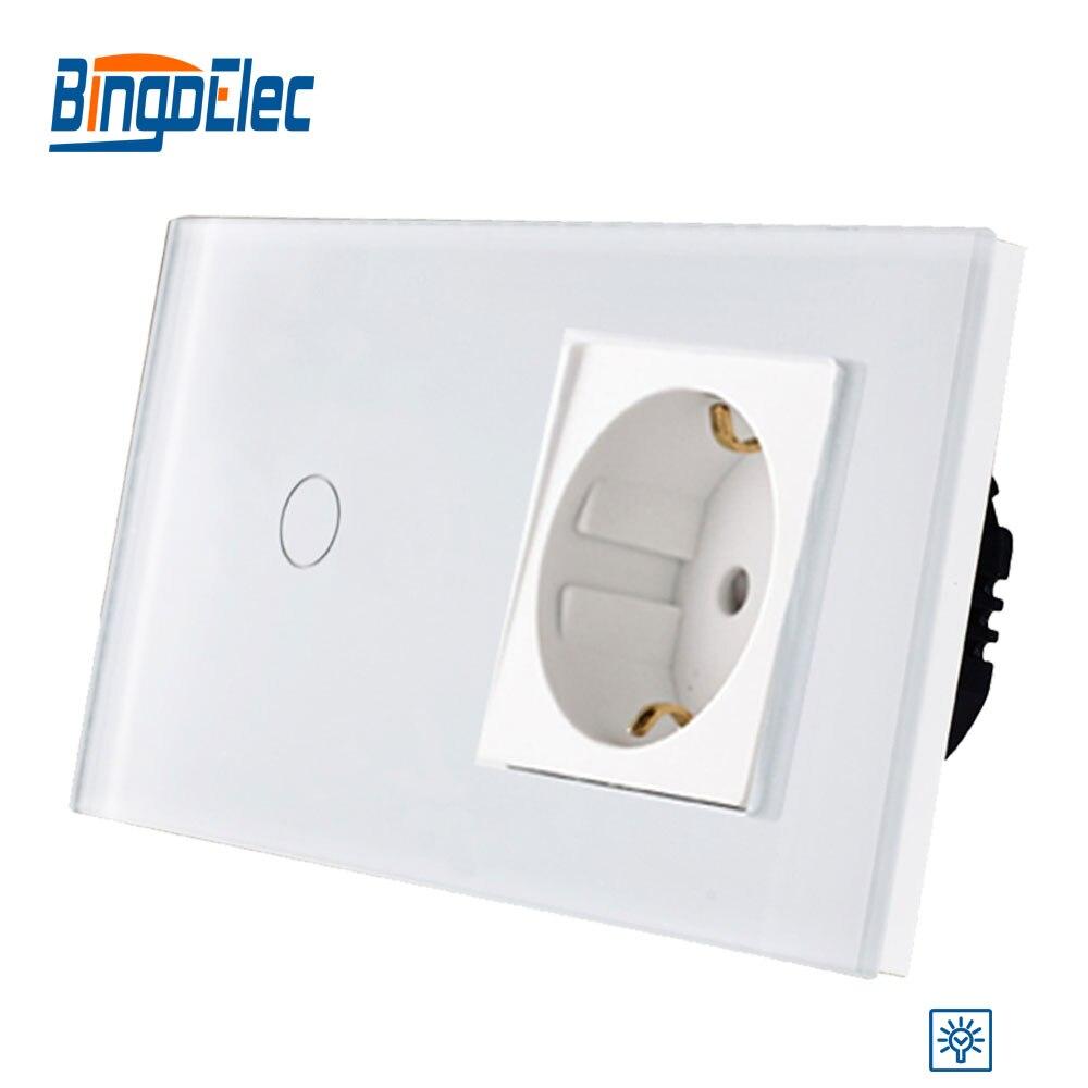 Bingoelec 1 1 Gang Way Dimmer Padrão DA UE Interruptor de Toque Com a Alemanha Soquete Painel de Vidro Interruptor De Luz de Parede