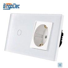 Bingoelec ab standardı 1 Gang 1 yollu Dimmer dokunmatik anahtarı almanya soketi ile cam Panel duvar için ışık anahtarı, 86*157mm