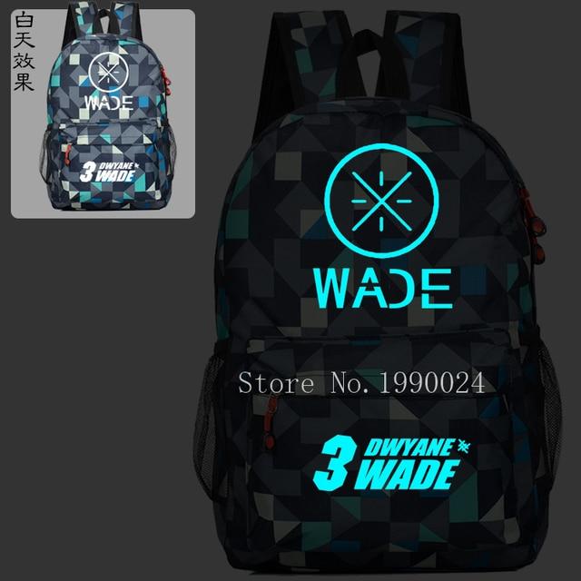 Dwyane Wade USA Noctilucent Kids School Book Backpacks Basket Ball Bag  Fashion Shoulder Bag Anime Travel 150b959052ce6