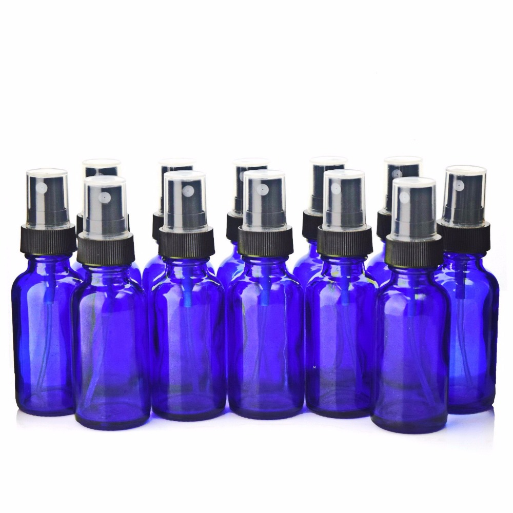 12 X 1Oz 2017 New Empty 30ml Cobalt Blue Glass Spray Bottle Containers with Black Fine Mist Sprayers for essential oil cosmetic 6pcs 1oz 30ml amber glass spray bottle w black fine mist sprayer refillable essential oil bottles empty cosmetic containers
