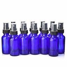 12 sztuk 30ml puste wielokrotnego napełniania kobaltowe niebieskie szkło butelka z rozpylaczem pojemniki z czarnym mgiełka w atomizerze do olejków eterycznych perfumy