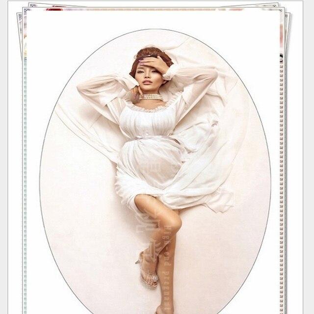 Maternity White Chiffon Dress Pregnancy Pregnant Women Photography Props Summer Fancy Photo Shoot Long Dress Free Size Clothes