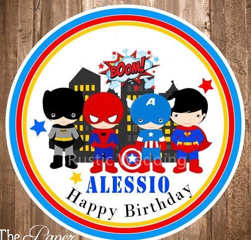 Superhero Stickers Baby Shower Round LabelsAvengers