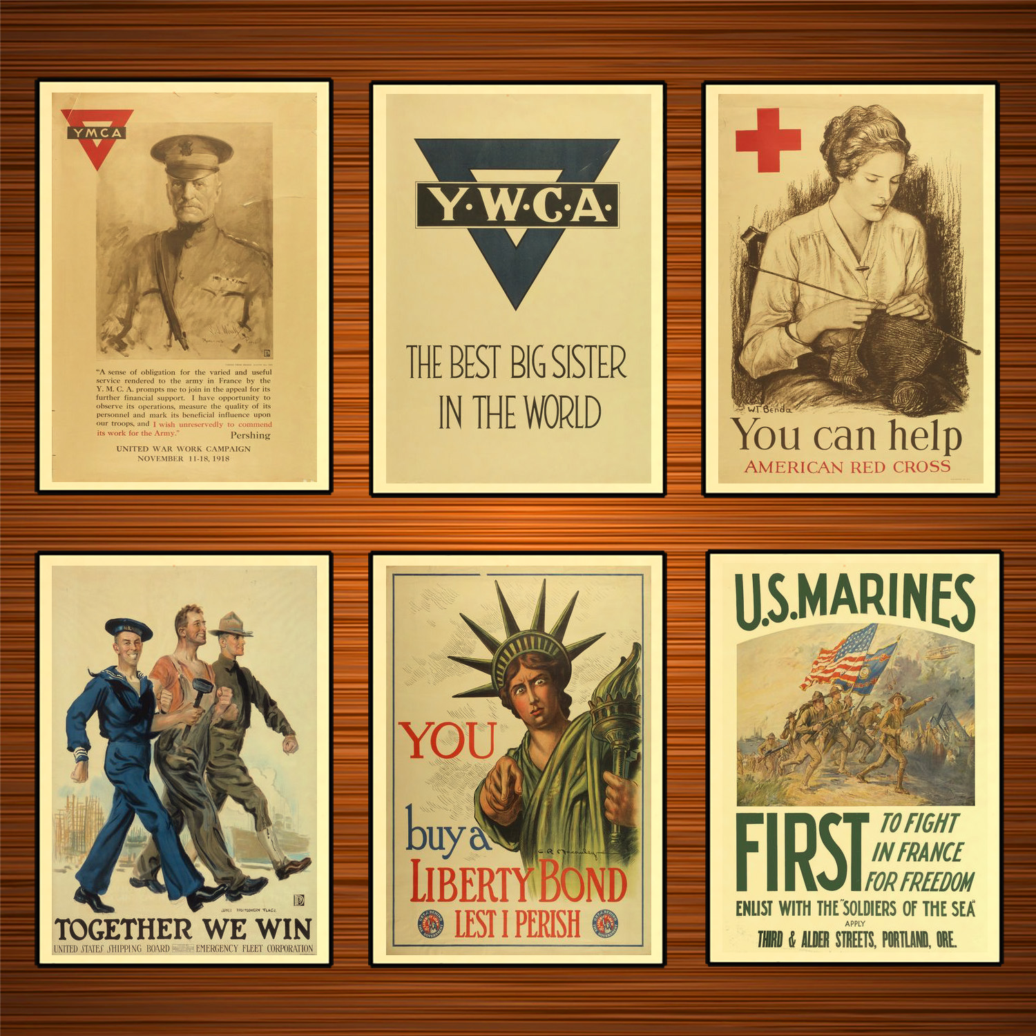 Vintage 1910s USA WW1 Propaganda Poster The Best Big Sister in THe World Classic Canvas Paintings Wall Stickers Home Decor Gift image