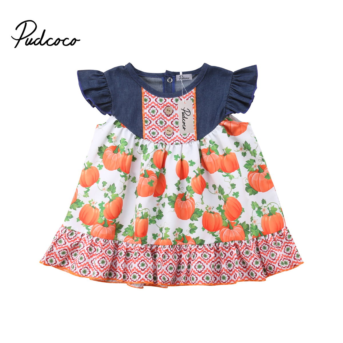1d5f948cf9a US $5.7 11% OFF|Aliexpress.com : Buy Lovely Toddler Infant Kids Girl Floral  Pumpkin Printed Dress Halloween Flutter Sleeves Dresses Cute Festival ...