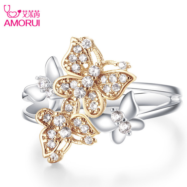 AMORUI Cute Gold Butterfly Silver Ring Jewelry Silver AAA CZ Zircon Wedding Ring