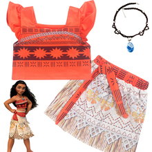 New Girls Princess Moana Cosplay Costume for Children Vaiana dress Costume with Necklace for Halloween Costumes for Kids Gifts baby girls clothes moana dress cosplay costume for children vaiana dress costume for halloween costumes for kids girls 63311