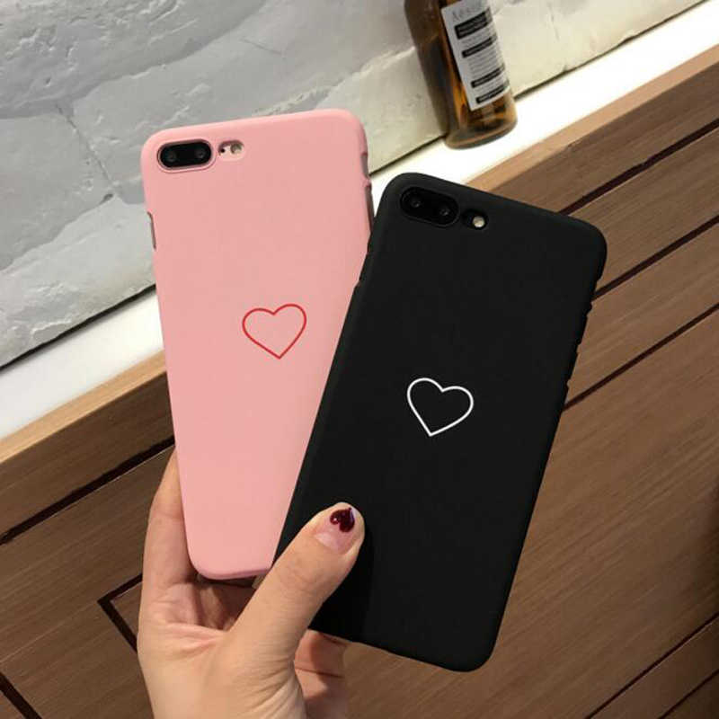 Cute Heart Couple Phone Case For iphone 6 Case For iphone XS Max Xr X 6S 7 7Plus 6Plus 8 8Plus X 5 5S SE PC Hard Plastic Cover