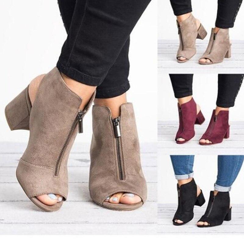 Spring Woman Sandals ladies Shoes Gladiator Casual Peep Toe Antiskid Bottom Zipper Med Thick Heels Wedding Sandalias Mujer 6299W 6