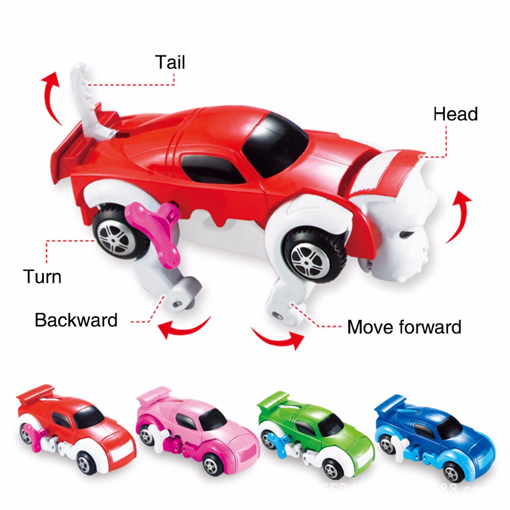 Diecasts & Toy Vehicles Cool Automatic Transform Dog Car 4 Colors Vehicle Clockwork Wind Up Toy Variety Cute Funny Girl Children Kid Model Toy For Gift