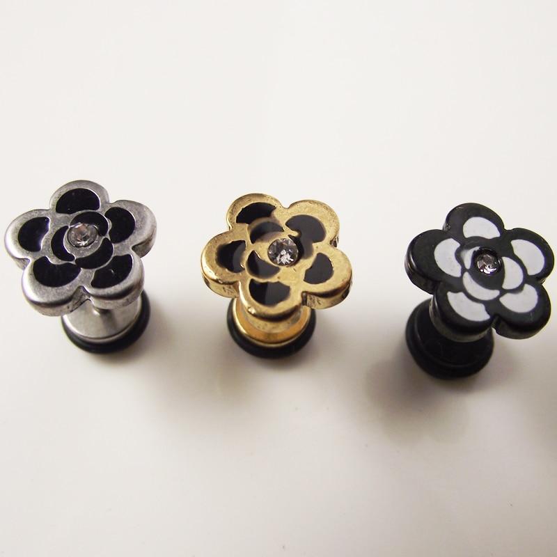 2Piece 2016 Stainless Steel Flower Earring Tragus Ear Piercing Cute Stud Earring Punk Rock Earrings Men Women Gift