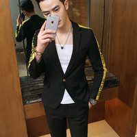 Gold And Black Suits Mens Suits Slim Fit Blue White Wedding Suits Mens Stage Wear Social