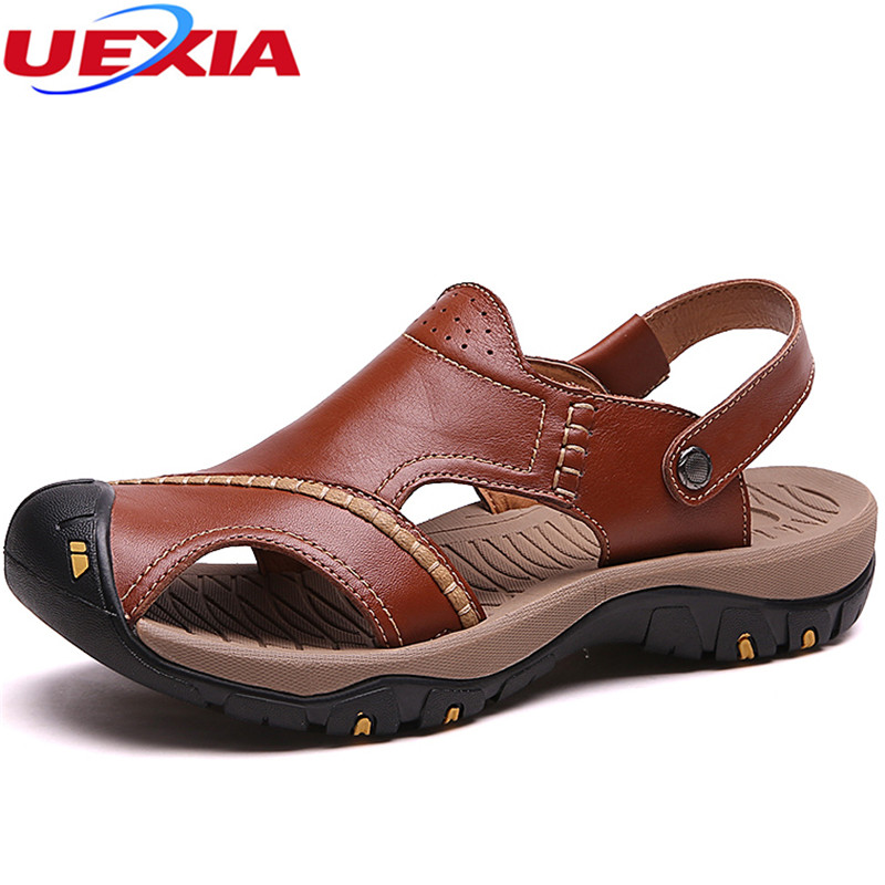 UEXIA 2018 New Leather Sandals Shoes Fashion Men Beach Breathable Male Sandal Summer Shoes Rubber Bottom Flip Flop Breathable