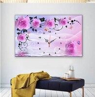 DIY Wall Clock 5D Diamond Painting Cross Stitch Rose Watch Full Dimaond Embroidery Diamond Mosaic