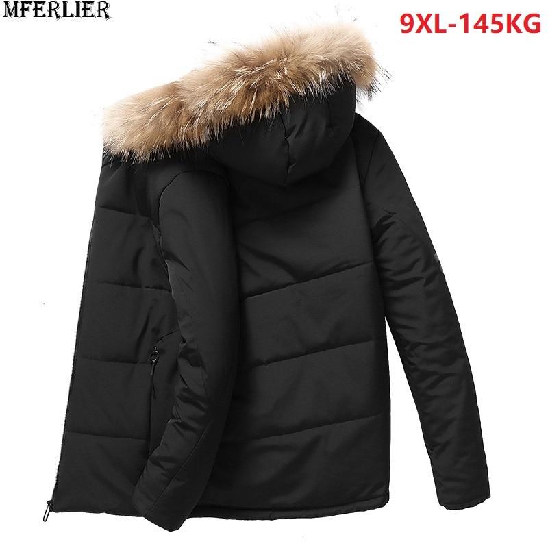 49a5cb9595f MFERLIER зимние мужские парки куртки из плотного флиса с капюшоном 5XL 8XL  теплые большие размеры большой верхняя одежда пальто 6XL 9XL человек свобо.