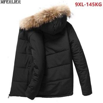 2db872f7880 MFERLIER зимние мужские парки куртки из плотного флиса с капюшоном 5XL 8XL  теплые большие размеры большой