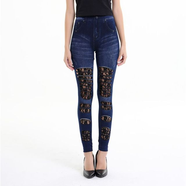 4e4fede9477c9 2018 street new patchwork fake jeans leggings gothic floral lace and fabric ripped  denim leggings casual