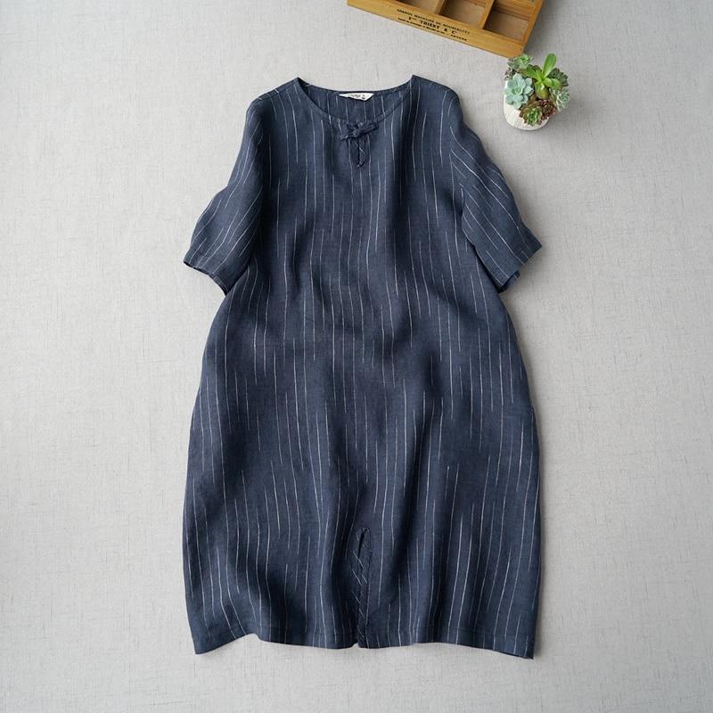 Wiosna lato kobiety Casual krótkie luźne Mori dziewczyny paski wygodne wodę przemywa lniane sukienki w Suknie od Odzież damska na  Grupa 1