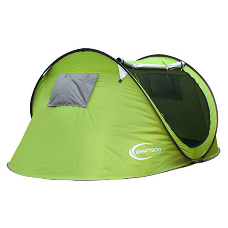 ФОТО High Quality Folding Camping Tent 3-4 Person Single Layer Quick Automatic Opening Outdoor Hiking Beach Tent