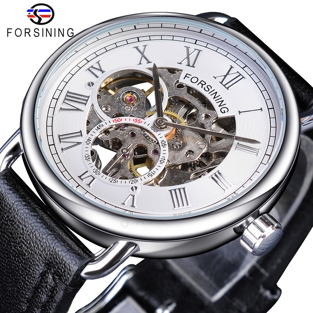 Forsining White Silver Openwork Clock Male Fashion Mens Mechanical Watches Top Brand Luxury Black Genuine Leather WaterproofForsining White Silver Openwork Clock Male Fashion Mens Mechanical Watches Top Brand Luxury Black Genuine Leather Waterproof