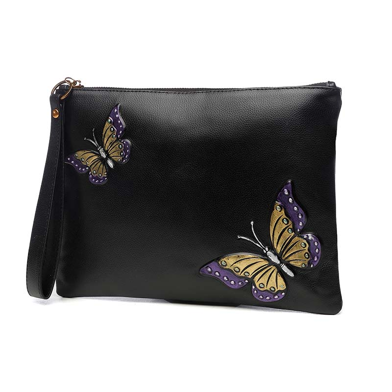 Genuine Leather Women Wristlet Hand Clutch Bag Hang Bag Zipper Crossbody Bag Shoulder Bag Rose Butterfly Large Capacity Envelope women genuine leather character embossed day clutches wristlet long wallets chains hand bag female shoulder clutch crossbody bag