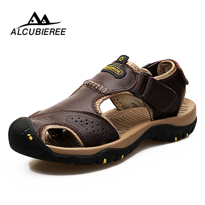 Men Sandals Brand Summer Genuine Leather Sandals Men Outdoor Beach Slippers Walking Sport Male Rubber Sole Casual Shoes Big Size