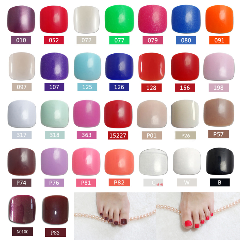 2019 24PCS fashion design cute toes latest French style candy colorful fake toe 34 Optional in False Nails from Beauty Health