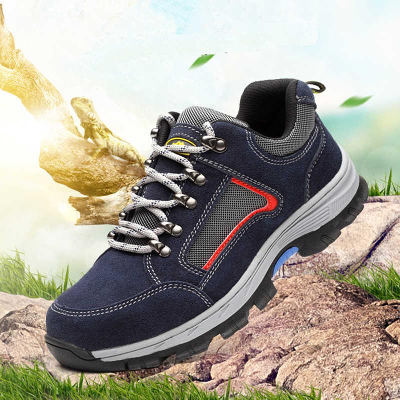 Iş güvenliği ayakkabıları erkekler için Vintage siyah örgü nefes çelik burun botları erkek emek sigortası delinme dayanıklı rahat ayakkabı adam