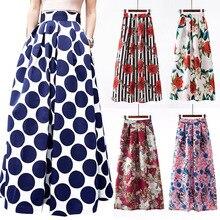 Surmiitro longo maxi plus size saia feminina 2019 primavera verão vintage indie folk imprimir a linha grande saia de cintura alta feminino