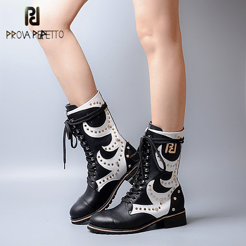 Prova Perfetto Euramerican Design Mixed Color Round Toe RIvets Low Heel Mid High Boots Genuine Leather Patchwork Lace Up Boots prova perfetto fashion round toe low heel mid calf boots feminino buckle belt thick bottom genuine leather women s martin boots