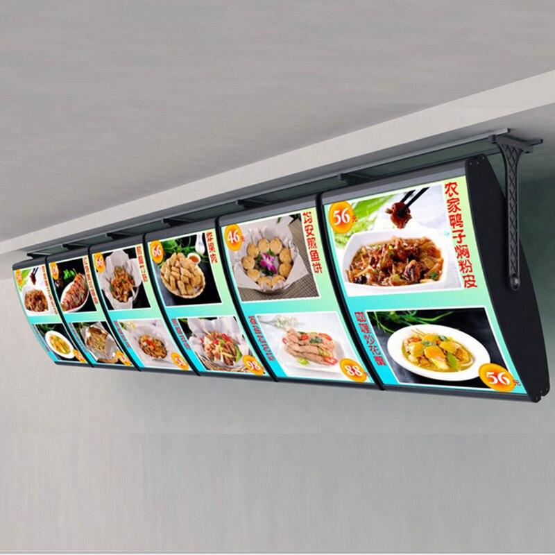 (6 Grafica/colonna) Soffitto Appeso Menu Curvo Illuminedge Scatole di Luce, Led Segni di Visualizzazione Menu Retroilluminato per ristorante da asporto