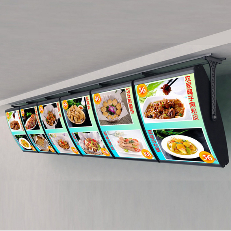 (6Graphics/column) Ceiling Hanging Menu Curved Illuminedge Light Boxes,Led Menu Backlit Display Signs For Restaurant Take Away