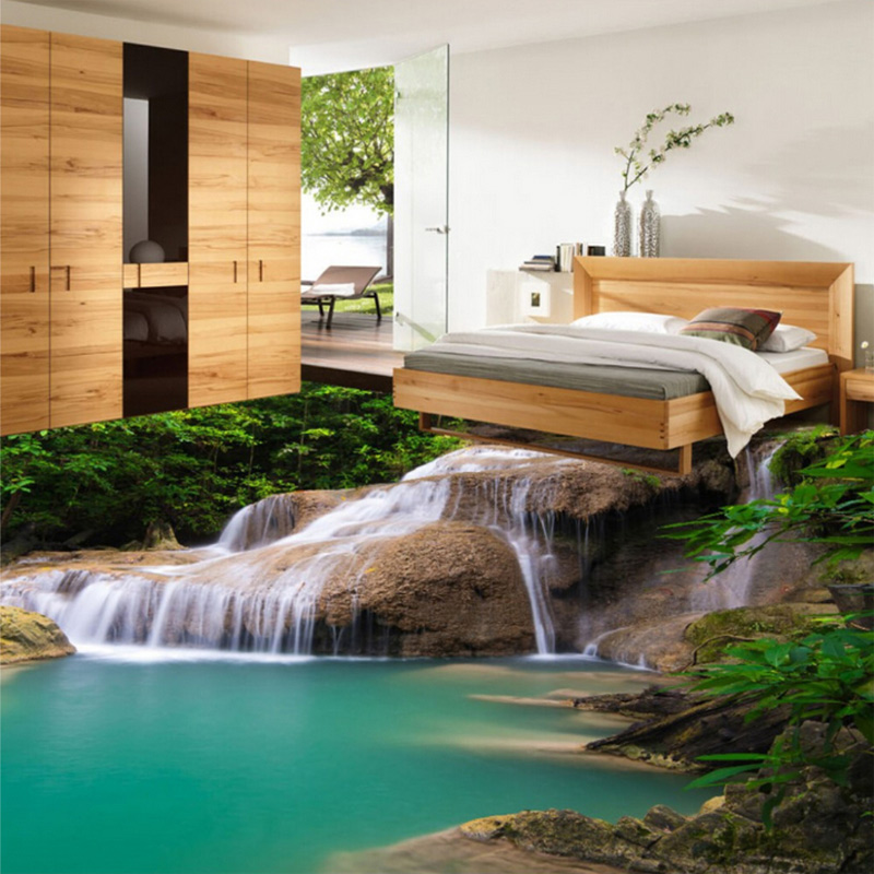 Custom Photo Floor Wallpaper Modern 3D Nature Waterfall Bathroom Floor Mural PVC Self-adhesive Floor Wallpaper For Living Room shelf