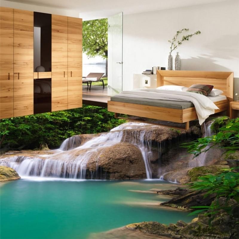 Custom Photo Floor Wallpaper Modern 3D Nature Waterfall Bathroom Floor  Mural PVC Self Adhesive Floor Wallpaper For Living Room In Wallpapers From  Home ...
