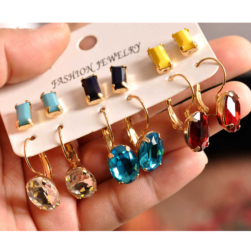 Fashion gorgeous women's jewelry girl birthday party yellow black green ear nail mixed with 6 pairs /set earrings free shipping