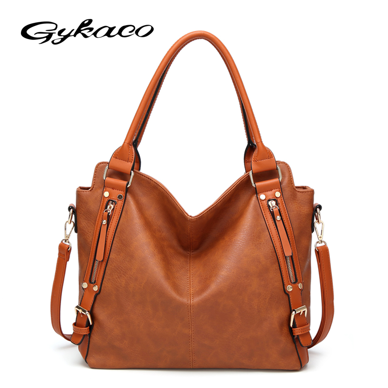 Gykaeo Fashion Large Capacity Shoulder Messenger Bags Handbags Women Famous Brands Ladies Soft Leather Tote Bag Bolsa Feminina kvky women fashion canvas handbags girl stripes shoulder bag large capacity ladies messenger bags casual tote bag bolsa feminina