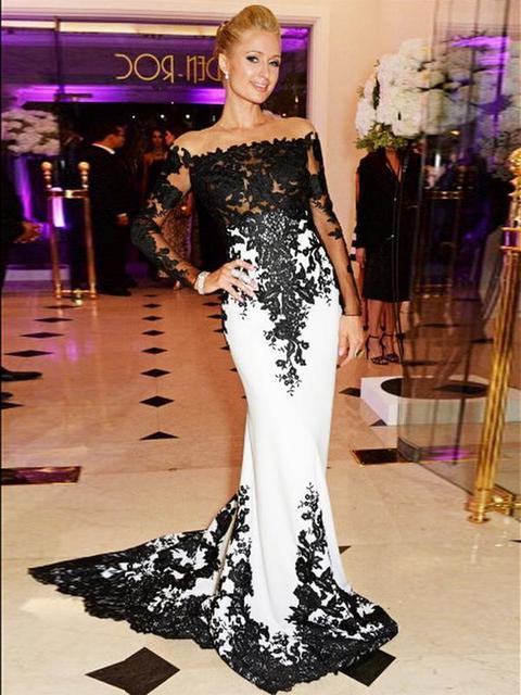 Vestidos de gala largos blanco y negro