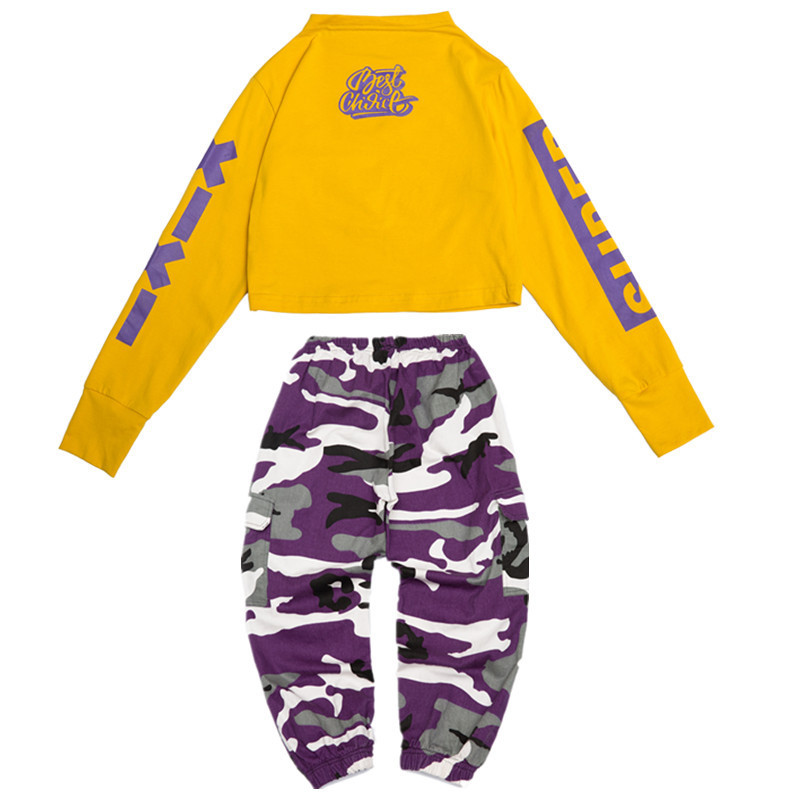 Children 39 s Camouflage Jazz Dance Costumes Kids Girls Street Long Sleeve Tops Camouflage Pants Hiphop Jazz Street Dance Wear Suit
