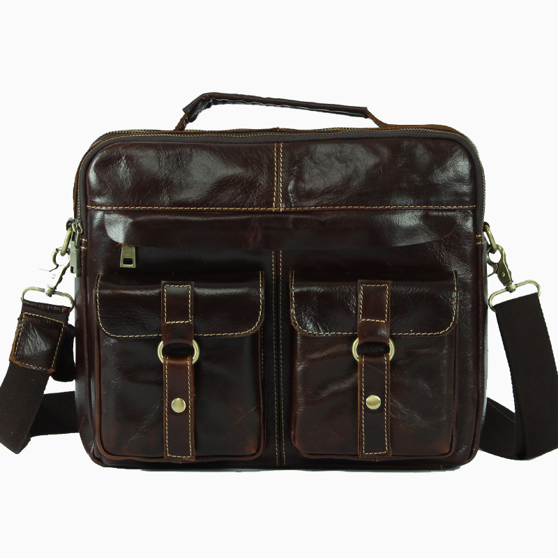 Nesitu Coffee Vintage Real Skin Genuine Leather Men Messenger Bags Cowhide Man Briefcase Portfolio Handbags #M1051
